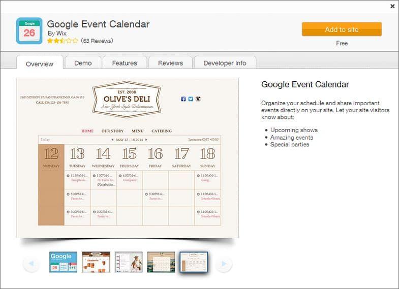WIX App Market - Google Event Calendar