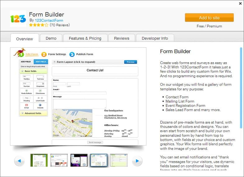 WIX App Market - 123 Form Builder
