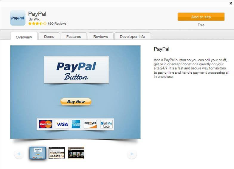 WIX App Market - PayPal
