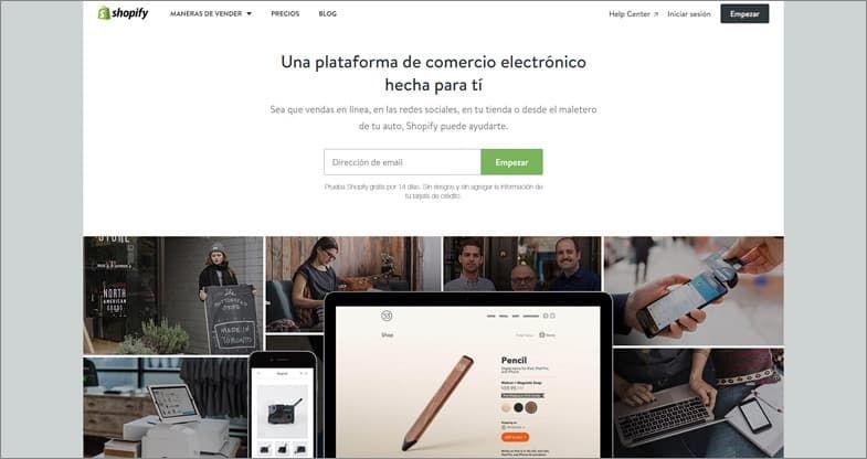 Shopify creador de sitios