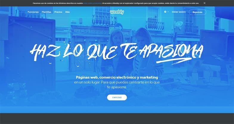 Weebly creador de sitios