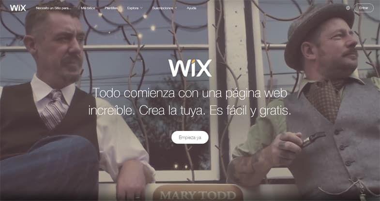 Wix creador de sitios