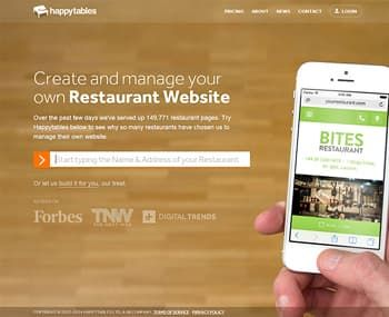 HappyTables Website Builder for Restaurant