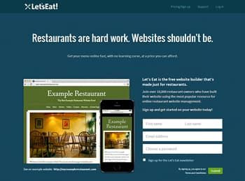 Let's Eat Website Builder for Restaurant