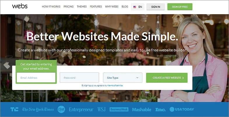Webs free website builder