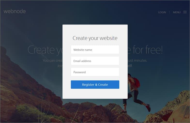 Webnode registration