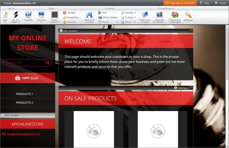 Webnode online store edit