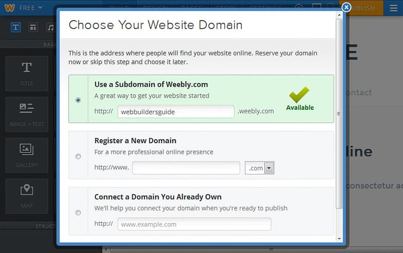 Weebly choose domain