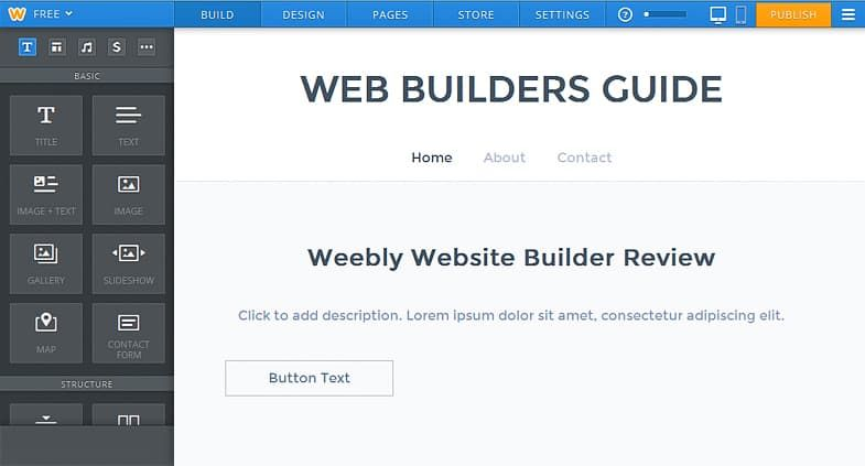Weebly editor screen