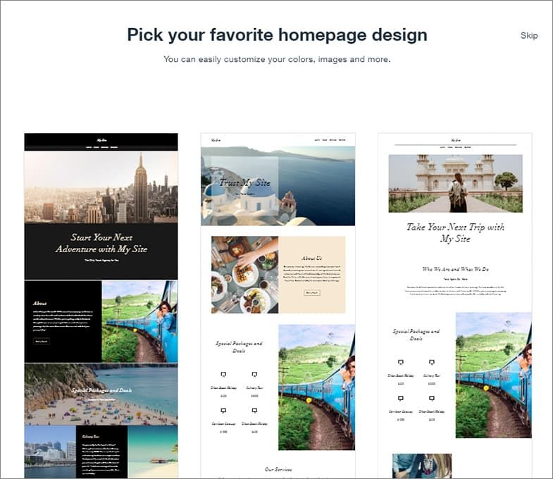 Wix selection homepages