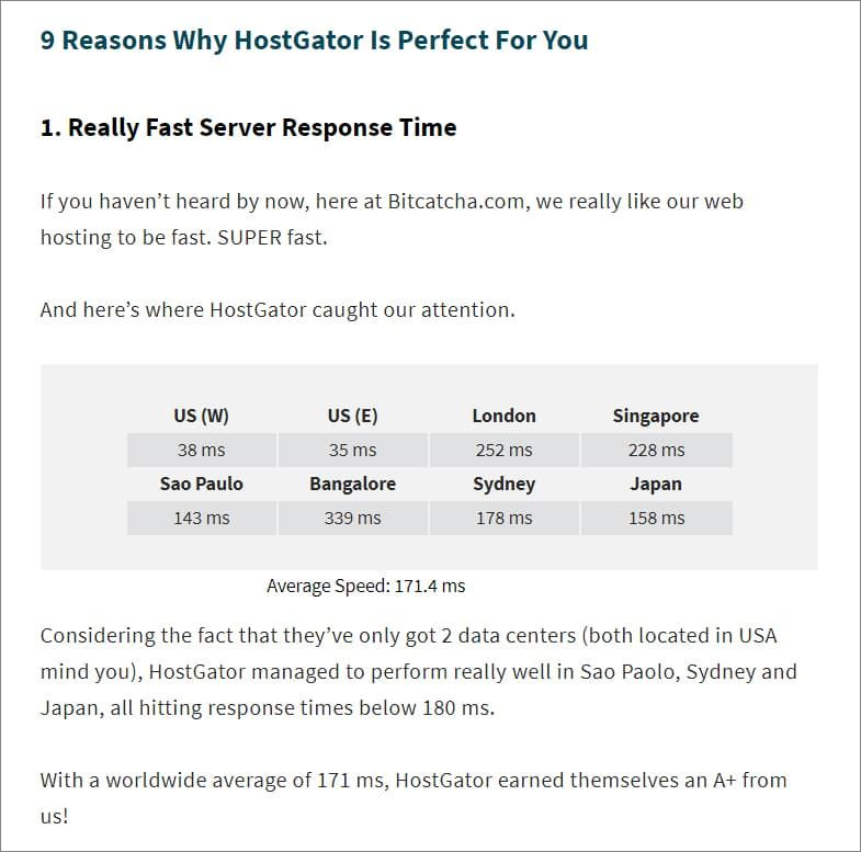 HostGator - Speed and Server Response Time