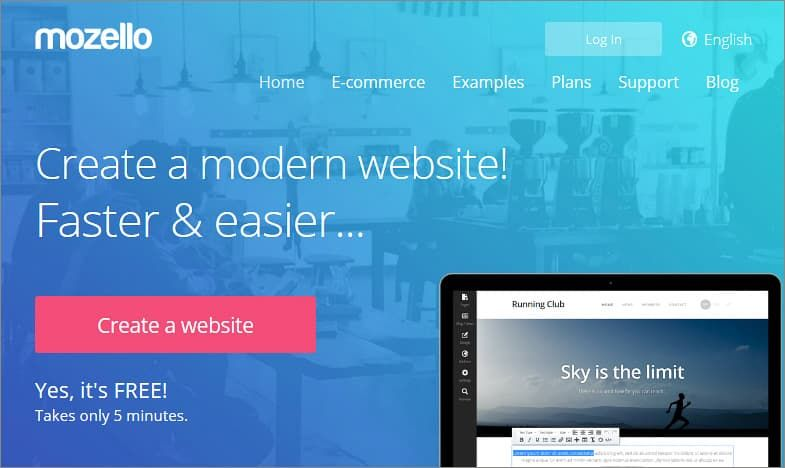 Mozello free website builder