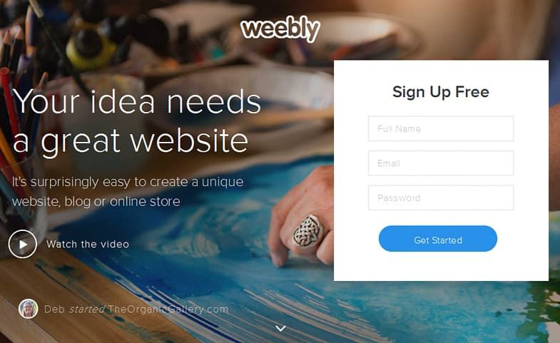 Weebly sign up