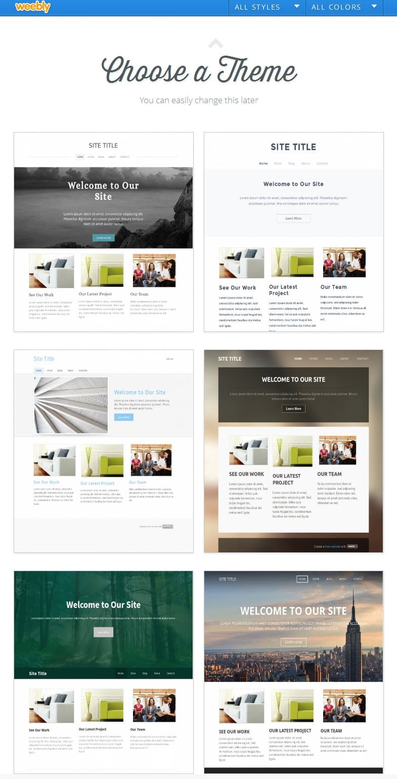 Weebly choose theme